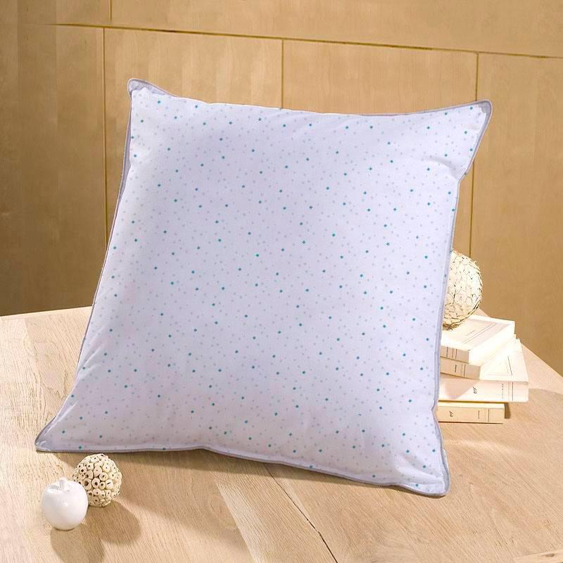 Coton blanc motif petite étoile bleu canard et pois gris