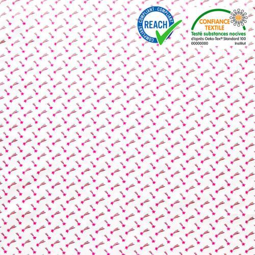 Coton blanc motif étoile filante rose