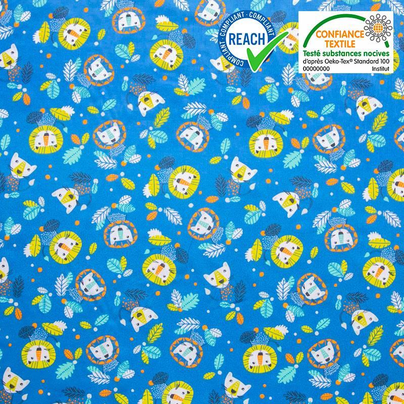 Coton bleu motif lion