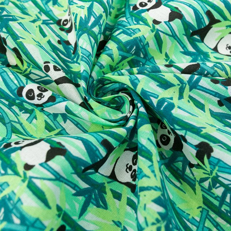 Coton imprimé panda et bambou vert
