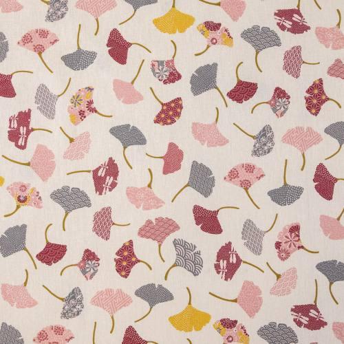 Coton écru motif ginkgo rose, gris et jaune