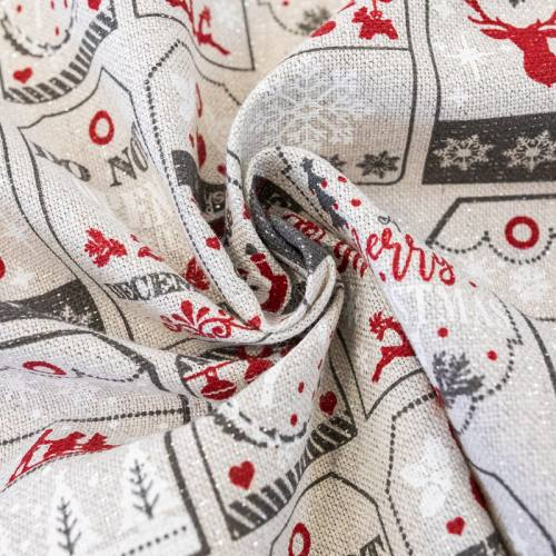 Toile chinée grise pailletée étiquettes de Noël