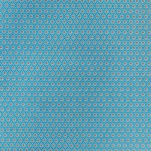Coton bleu pétrole motif asanoha
