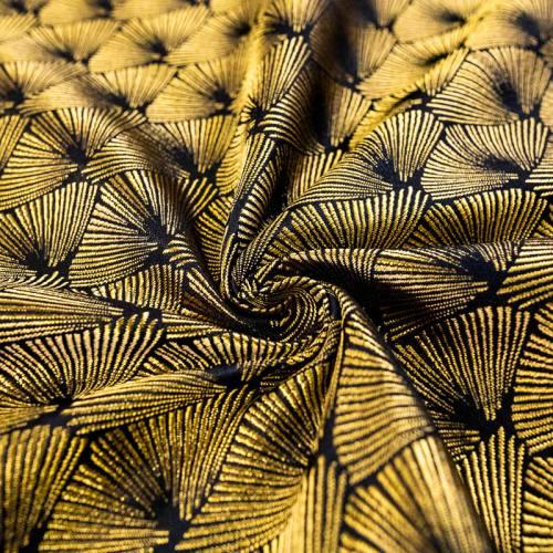 Jacquard noir éventail jaune or