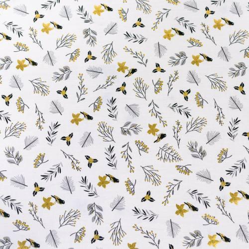 Popeline de coton blanc motif brillant or