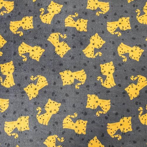 Polaire réversible anthracite imprimée chat et unie marron clair