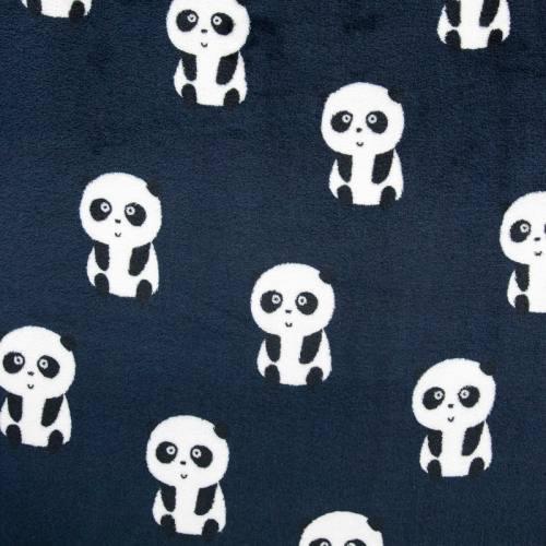 Polaire réversible bleu marine imprimée panda et feuille
