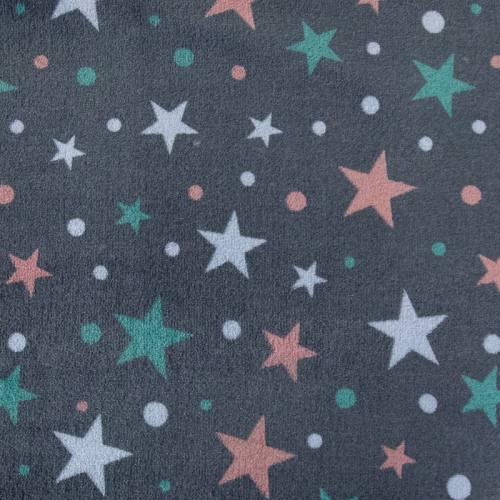 Polaire réversible anthracite imprimée étoile et rayures