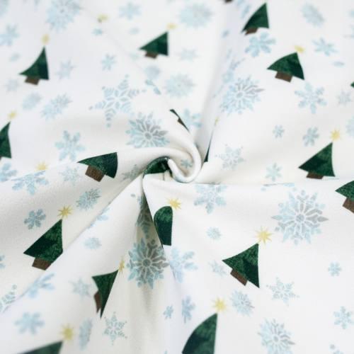 Velours ras écru imprimé Noël sapin et flocons