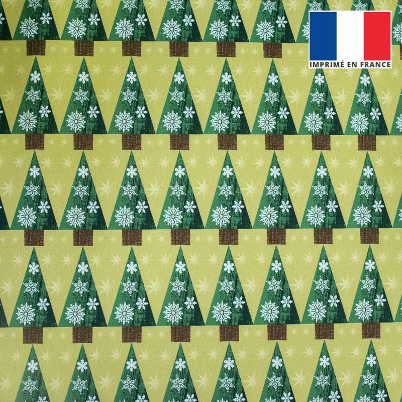 Velours ras vert anis imprimé Noël grand sapin
