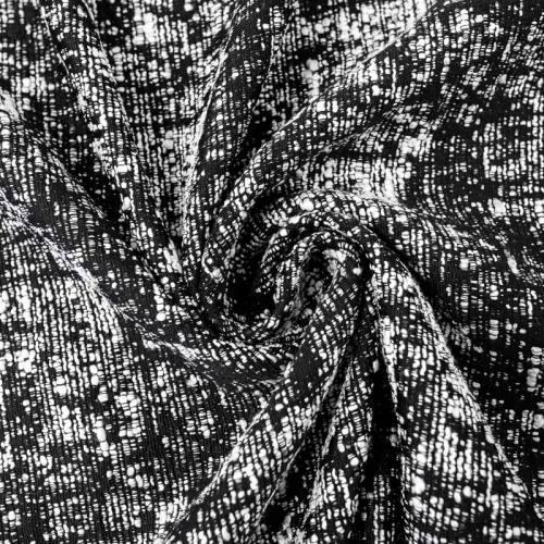 Tissu lainage jacquard noir et écru