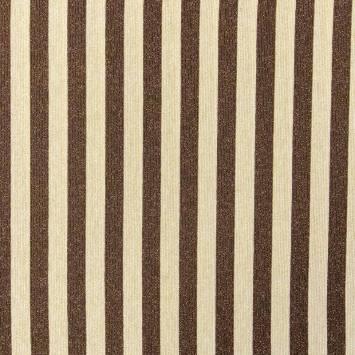 Tissu extensible motif rayure lurex brillante marron et beige
