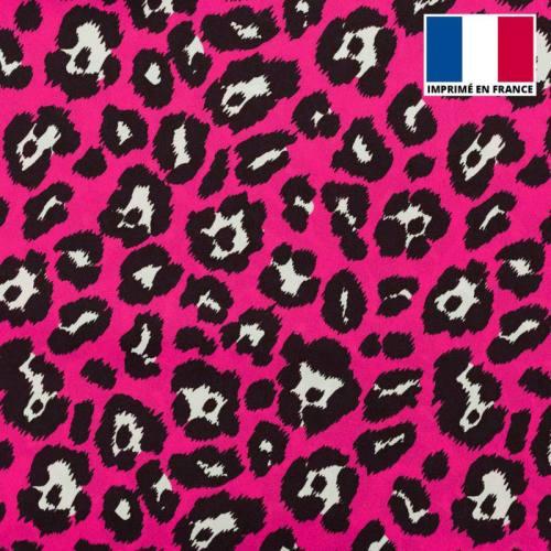 Satin imprimé léopard rose fluo