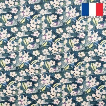 Velours ras bleu foncé motif fleur abstraite aquarelle écru et vert