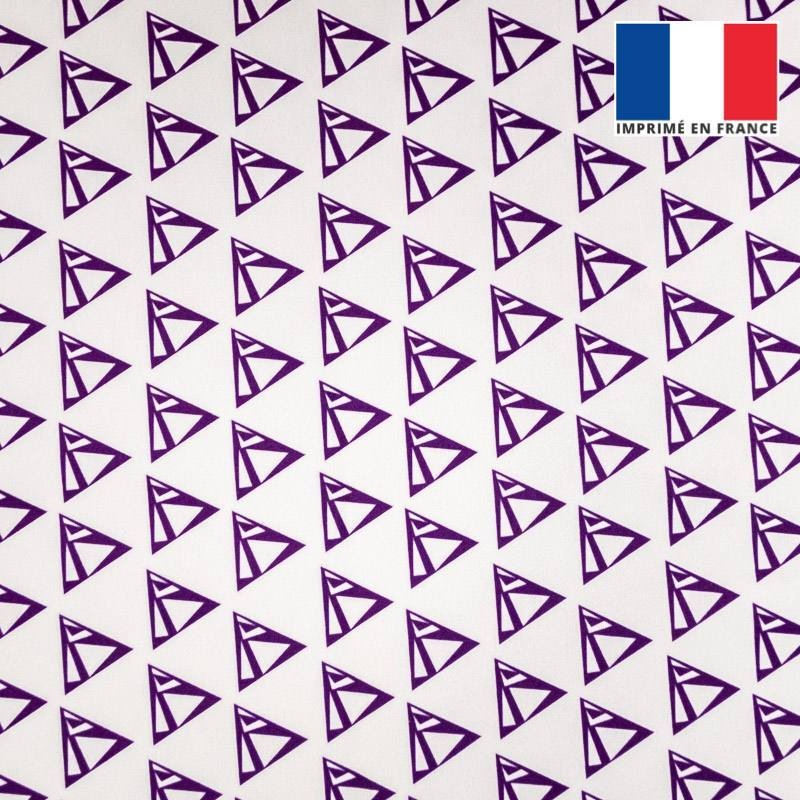 Velours ras écru imprimé triangle violet