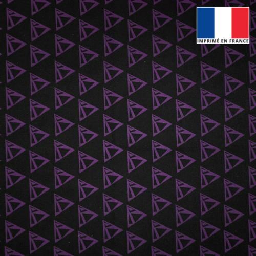 Velours ras noir imprimé triangle violet