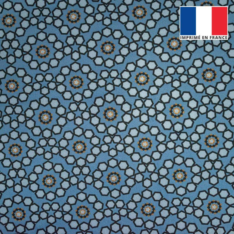 Velours ras bleu imprimé céramique
