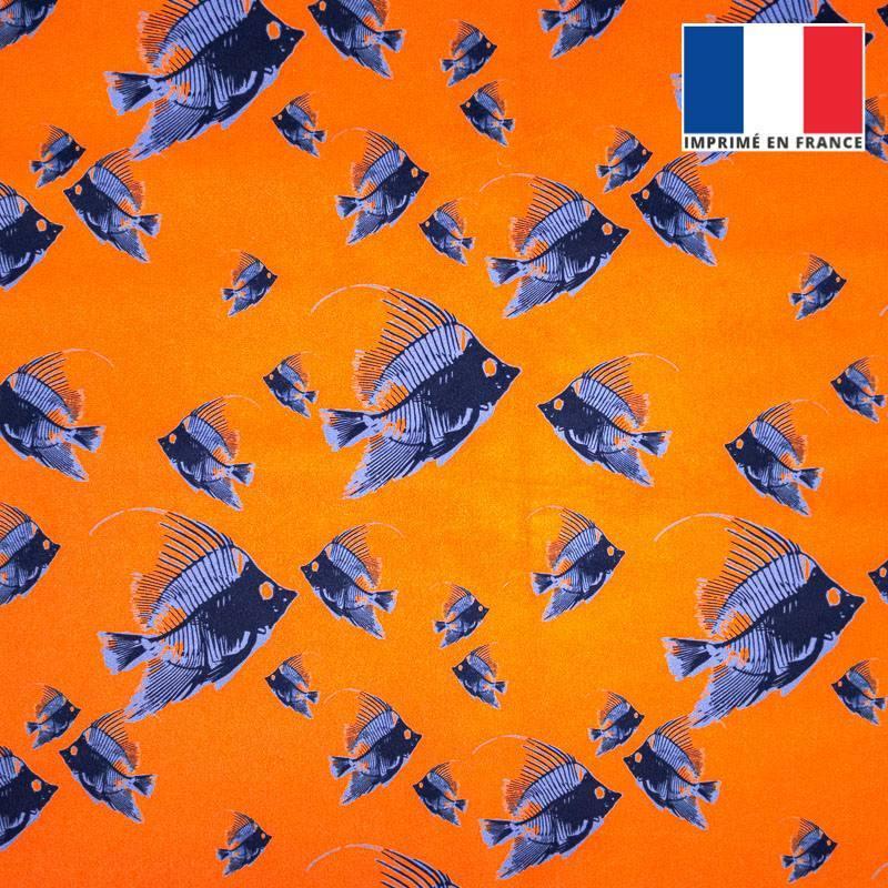 Velours ras orange imprimé poisson bleu