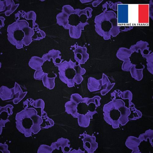 Velours noir motif fleur ultra-violet