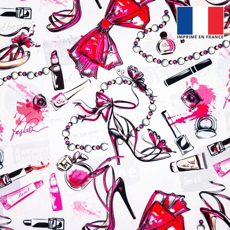 Velours ras écru motif make-up glamour rose