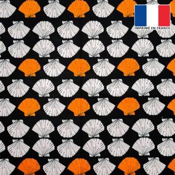 Velours ras noir imprimé coquillage orange et écru