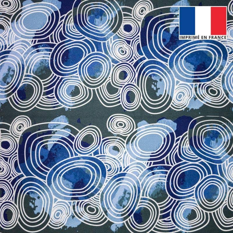 Velours ras motif rond géométrique bleu