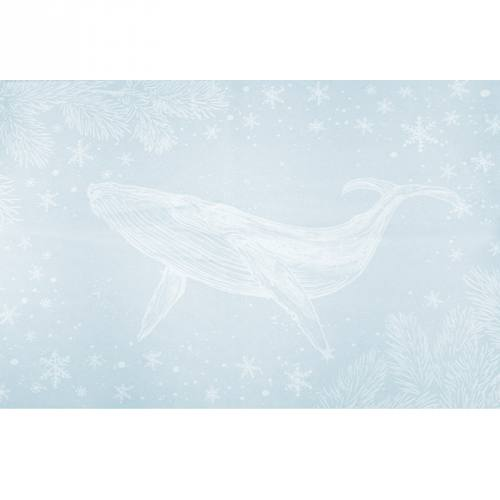 Coupon de velours ras bleu givré motif baleine et poisson volant 134x44cm et fermeture offerte