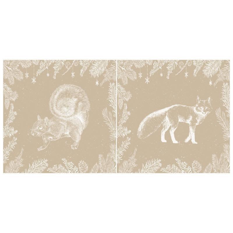 Coupon de velours ras beige motif écureuil et renard 86x44cm et fermeture offerte