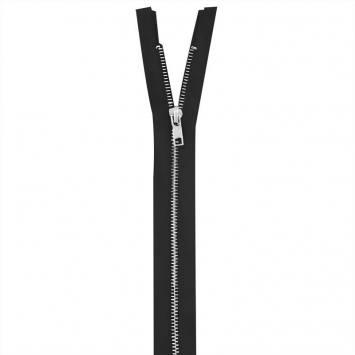 Fermeture noire en métal argent 65 cm col 580
