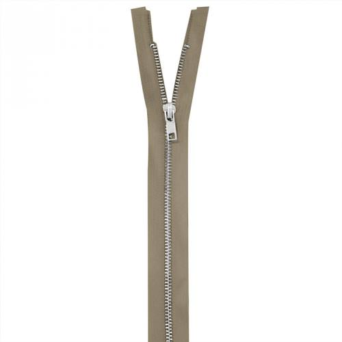 Fermeture beige en métal argent 65 cm col 894