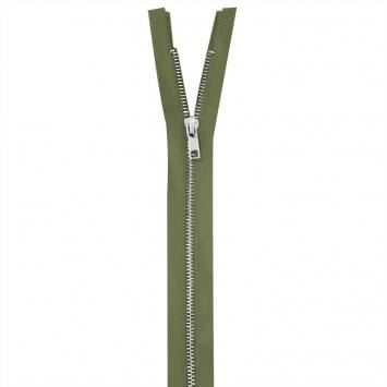 Fermeture vert kaki en métal argent 75 cm col 999
