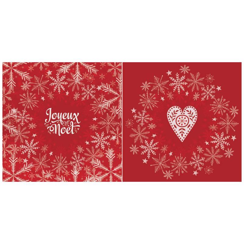 Coupon de velours ras rouge motif flocon de Noël 86x44cm et fermeture offerte
