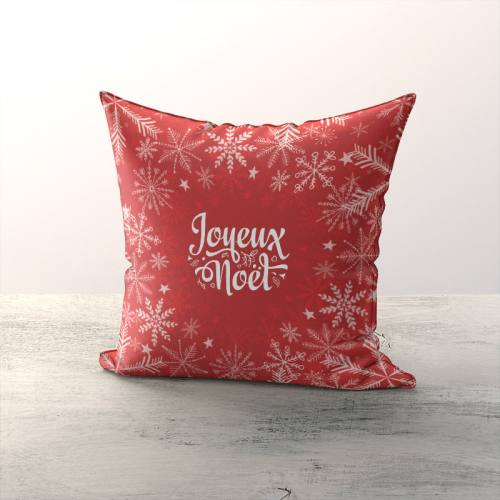 Coupon de velours ras rouge motif flocon de Noël 86x44cm et fermeture offerte