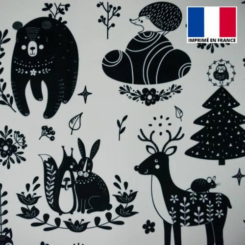 Velours écru imprimé animaux folk