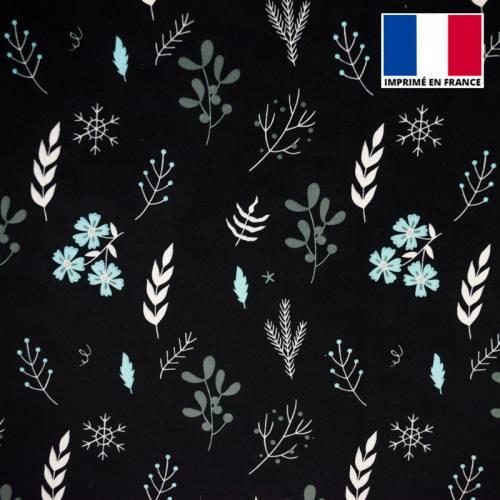 Velours ras noir imprimé fleurs d'hiver