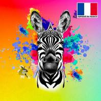 Coupon de velours ras multicolore imprimé zèbre 45x45cm