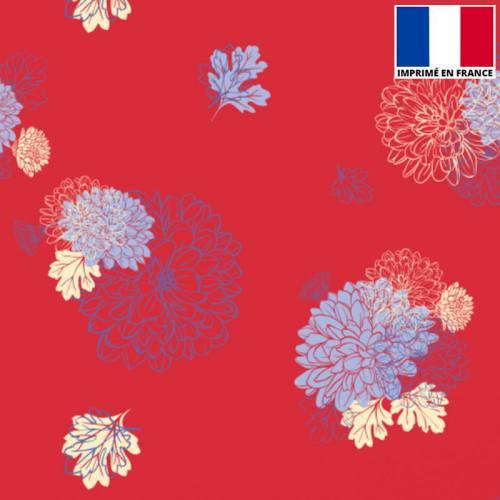 Satin rouge imprimé floraison