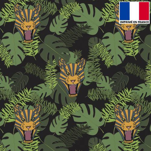 Satin noir imprimé tigre tropical