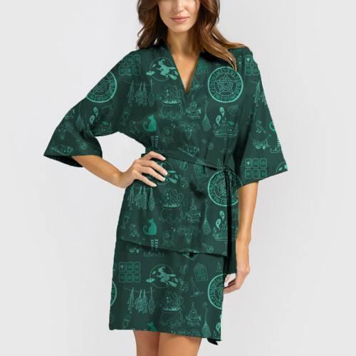 Satin vert sapin imprimé sorcellerie turquoise