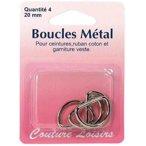 Boucles métal forme D X4 20mm