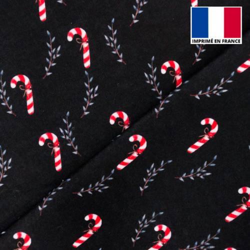 Feutrine noire motif canne à sucre de Noël