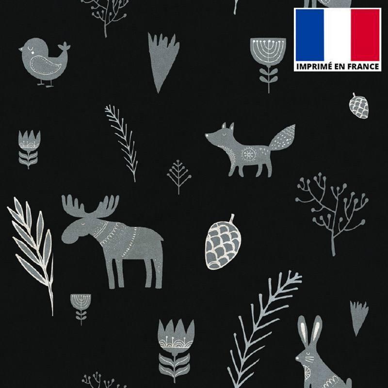 Velours ras noir imprimé animaux de Noël gris souris