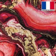 Lycra imprimé magma noir et rouge et poudre d'or