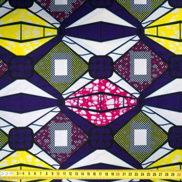 Wax - Tissu africain motif violet et jaune 438