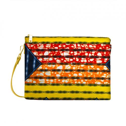 Wax - Tissu africain orange, rouge et jaune motif losange bleu marine 426