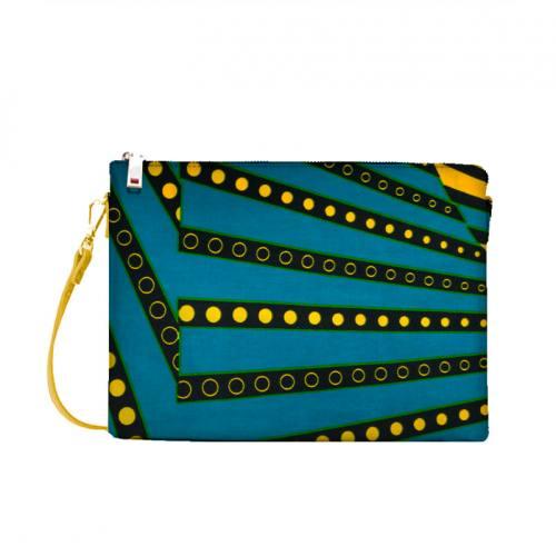 Wax - Tissu africain motif rayure émeraude et jaune 424