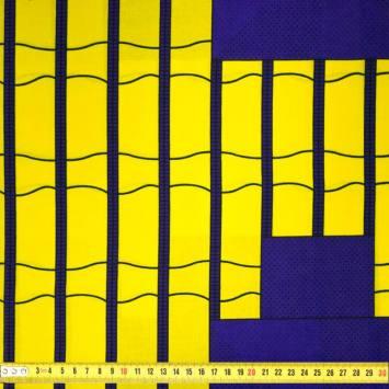Wax - Tissu africain motif carreau jaune et violet 421