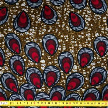 Wax - Tissu africain marron motif paon rouge 413