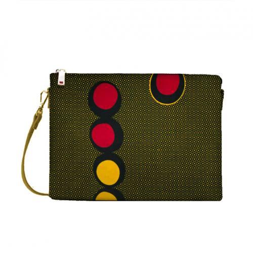 Wax - Tissu africain noir motif rond jaune et rouge 410