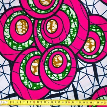 Wax - Tissu africain blanc motif rond fuchsia et vert 409